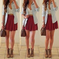 Denim and red skirt