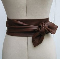 Sale - Oak brown leather cinch petal wrap belt - Sample will only fit a 24ins waist and smaller