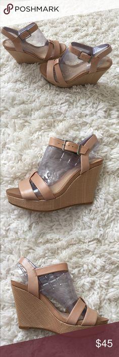 Selling this BNWT Gianni Bini Camel Leather Wedges on Poshmark! My username is: tammyl16. #shopmycloset #poshmark #fashion #shopping #style #forsale #Gianni Bini #Shoes