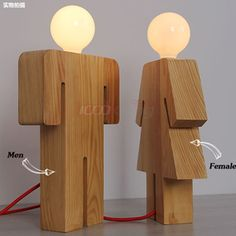 IKEA Scandinavian minimalist modern creative fashion for men and women wooden bedroom wood bedside lamp desk lamps