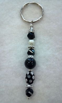 Beaded Keychain Black and Silver by CanineKingdomOK on Etsy, $13.99