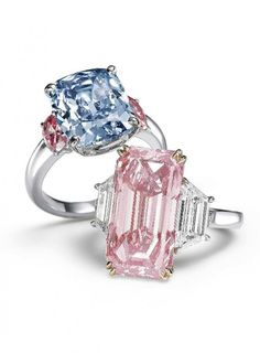 A 6.01-carat cushion-cut fancy vivid blue diamond and a 9.27 carat fancy vivid pink emerald-cut diamond ring--auctioned at Sotheby's HK in October 2011. (The pink, top lot, did not sell that evening) http://www.pricescope.com/blog/fancy-vivid-blue-and-orange-diamonds-set-records-sothebys-sale