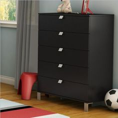 Save $16.00 on South Shore Spark Collection 5-Drawer Chest, Pure Black; only $143.99