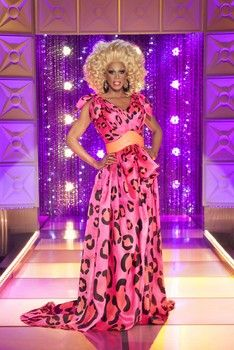 """""""My favorite colors are hot pink and orange. I love that the hand-painted leopard spots are to scale with my body. And the way the organza flowed was pure heaven."""" RuPaul"""