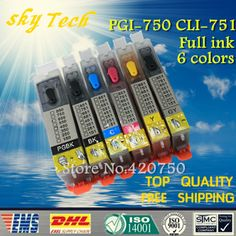 6PK Full ink Refillable Cartridge suit for PGI750 CLI751 ,Suit for canon MG5470 IP8770 MG6370 MG6570 MG7170 IP7270,with ARC chip