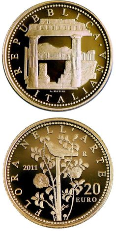 N♡T.20 euro: Flora in the Art.Country:	Italy Mintage year:	2011 Face value:	20 euro Diameter:	21.00 mm Weight:	6.45 g Alloy:	Gold Quality:	Proof Mintage:	1,500 pc proof