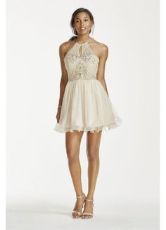 Illusion Crystal Beaded Short Chiffon Halter Dress 3600482 $104.97