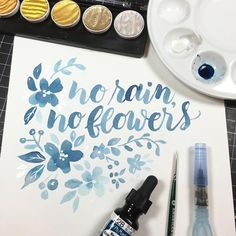 Early morning watercolor brush lettering and some flowers and leaveshellip