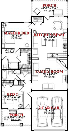 Bungalow Style House Plan - 2 Beds 2 Baths 1390 Sq/Ft Plan #63-250 Main Floor Plan - Houseplans.com