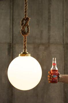 Pendant Light Rope Light Large Glass Globe Pendant by LukeLampCo