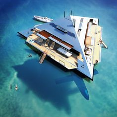 This futuristic yacht design would actually float above the sea Floating Architecture, Futuristic Architecture, Yacht Design, Super Yachts, Yacht Luxury, Cool Boats, Small Boats, Floating House, Floating Island