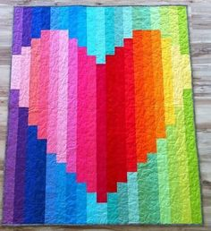 Rainbow Heart strip quilt by 5bentneedles by kinda.conger