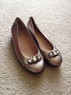 5bb7aa637 Easy Spirit e360 Women Metallic Gold Rhinestone Embellished Ballet Flats  Shoes 6  fashion  clothing
