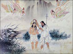 Paintings Depict Jesus Christ in Korea, part of the series of sacred paintings made by  The Baptism of Jesus in the River Jordan #koreanjesus
