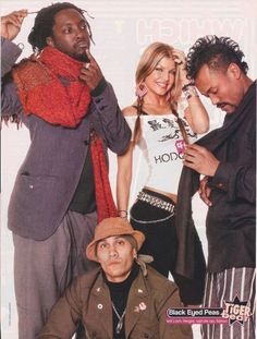 The Black Eyed Peas consist of will.ap, Taboo, and Fergie. Rap Music, Music Bands, Black Eyed Peace, Black Eyed Peas Fergie, Hollywood Music, Band Wallpapers, Nostalgia, Band Posters, Celebs