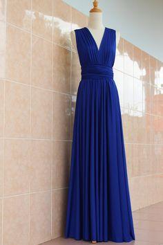 Bridesmaid Dress Infinity Wrap Convertible Royal Blue Wedding Evening Cocktail Party Maxi Elegant Prom Custom Made Plus Size Bridal Dresses
