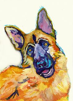 German Shepherd Dog Painting colorful, GSD dog Print , watercolor and acrylic Alsaian Dog GSD owner gift, German Shepherd painting art print choice of sizes.  This colorful German Shepherd GSD dog is full of character and sure to brighten up any wall you choose to hang it on. Choice of sizes to fit many popular mounts and frames.  I created the original painting using watercolor, colored ink and acrylic paint and it is now available to you as a signed giclee print on quality heavy matte…