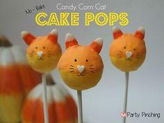 Candy Corn Cat Cake Pops