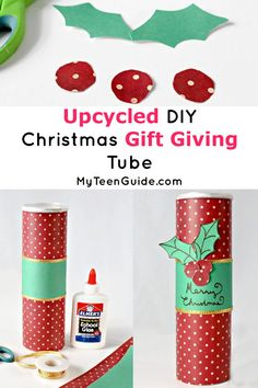 Looking for a cute gift idea? Check out this DIY Chrismas gift giving tube! It's a fun craft for the holidays & super cute too! Super Easy Crafts For Kids, Crafts For Kids To Make, Christmas Crafts For Kids, Diy Christmas Gifts, Christmas Decorations, Cute Crafts, Kid Crafts, Diy Gifts, Upcycle