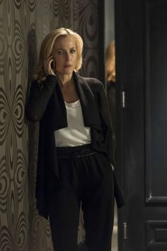 "Gillian Anderson in Rag and Bone trousers. I love her entire wardrobe in ""The Fall""."