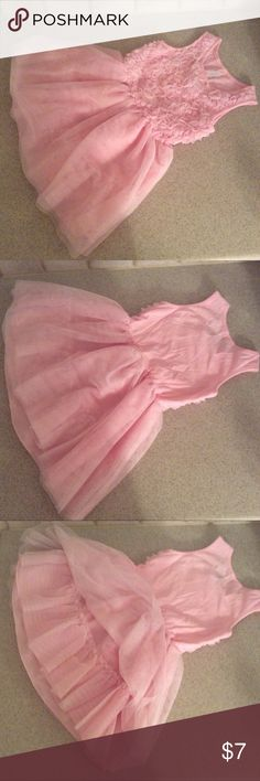 """Pink Sleeveless Floral Tulle Dress (3T) Floral accents cover the bodice of this sleeveless dress by The Children's Place. The dress also features a layered tulle skirt.  The size is 3T; the length is 19.5"""".  Used; Excellent Condition The Children's Place Dresses Casual"""