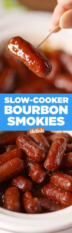 Bourbon Smokies Slow-Cooker Bourbon Smokies put pigs in a blanket to shame.Slow-Cooker Bourbon Smokies put pigs in a blanket to shame. Appetizer Dips, Appetizers For Party, Appetizer Recipes, Party Snacks, Meat Appetizers, Party Recipes, Dinner Parties, Drink Recipes, Fall Recipes