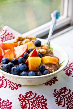 A Breakfast Cobbler #peaches #blueberries #walnuts