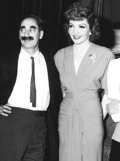 Claudette Colbert and Groucho Marx on tour with the Hollywood Victory Caravan on May 16th, 1942