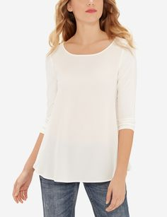 An elegantly flared silhouette flatters your figure with plenty of fashion forward personality. Pregnancy Wardrobe, Maternity Wardrobe, Classic Style, My Style, Swing Top, Stylish Outfits, Fashion Forward, Clean Slate