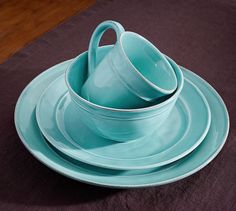 Cambria Dinnerware - Turquoise Blue | Pottery Barn (a mix of turquoise and white .... I think :-)