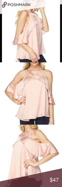 """Cold Shoulders Ruffle Sleeves Top - Blush @blushonme at Poshmark  Featuring a satin material with cold shoulders, ruffle butterfly sleeves. Lined. Polyester.  Measurements Flat Across - approx. Length - 23"""" Pit-to-pit - 19.5""""  NWT  🏷️ Price is Firm  🛒 To Buy: Click on the Buy Now button, or the Add To Bundle for multiple purchases with discounted shipping 🙂🌷 Tops Blouses"""