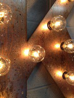 Industrial Lighting Fixture Metal Marquee by WestVintageTradingCo