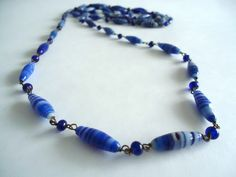 Antique Flapper Necklace Blue Glass Beads Very Long 1920's by TreasureCoveAlly on Etsy