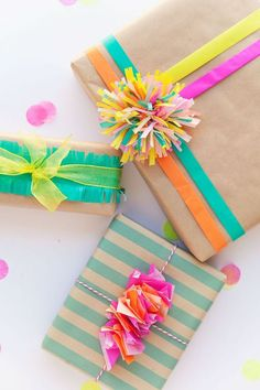 3 cute ways to wrap a gift with tissue paper.: