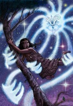 Illustration of Rona clinging to a ngaio tree as rays of moonlight pull her…