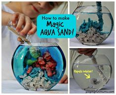 Magic Aqua Sand Tutorial - Make your own Magic Sand! This is both Art and Science. Other Science experiments are included on this website. What Fun! Summer Activities For Kids, Science For Kids, Craft Activities, Water Activities, Science Ideas, Projects For Kids, Diy For Kids, Crafts For Kids, Science Projects