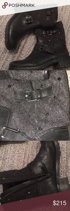 Tory Burch moto boots with studs ❤️ Barely worn leather moto boots with grey flannel and studs! Run true to size! Inside zippers for easy on and off without having to adjust the buckles! ❤️❤️❤️ Tory Burch Shoes Combat & Moto Boots