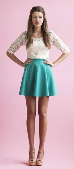 white lace top + green skirt