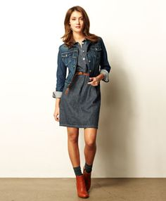 Denim modern country outfit... Lol, this dress would come down to just below knees. :-)
