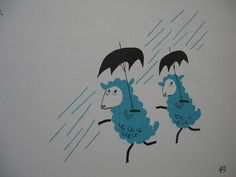 from 1964 record set, holt rinehart winston, illustrated by Mac Shepard. via tigerluxe Sheep Illustration, Going To Rain, Counting Sheep, Sheep And Lamb, Walking In The Rain, Under My Umbrella, Cute Poster, Cloudy Day, Artsy