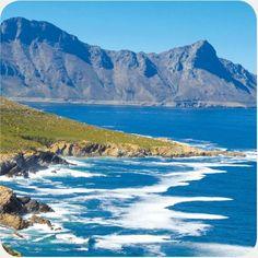 Rugged mountains tumble into the sea along the Cape coastline