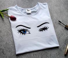 Women's Clothing makeup fashion makeup shirt eyelash t Makeup Shirts, Tumblr Tee, T Shirt Painting, Eyelashes, Women's Clothing, Clothes For Women, Eyes, Halloween, Gifts