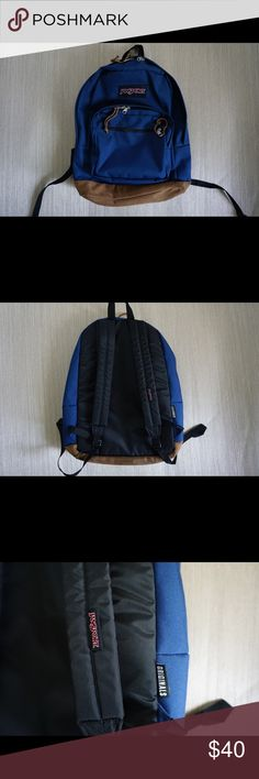 Jansport   Right Pack Backpack Beautiful navy backpack with suede leather bottom and tassels to pull open/close the three compartments. Small compartment in the front for small items, medium compartment in the middle with organizer for pens and the main compartment is the biggest one with an included slot in the back for laptop/tablet. There are no stains, holes, rips or tears...It is in absolute great condition with the exception of the suede bottom being a little dirty. Jansport Bags…