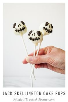 For a spooky, and delicious, treat, these Jack Skellington Cake Pops are a fun way to celebrate the holidays, Disneyland style! For the complete recipes and easy how-tos, check out the site today. // magicaltreatsathome.com  #disneyeats #disneycopycatreceipe #disneycakepops #DCA #disneyland #disneytreats #jackskellington #cakeballs #chocolatecakepops #cakepophowto #nightmarebeforechirstmastreats