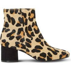 Dune Packham leather ankle boots (€64) ❤ liked on Polyvore featuring shoes, boots, ankle booties, leopard booties, block heel booties, block heel bootie, block heel ankle boots and leopard print ankle boots