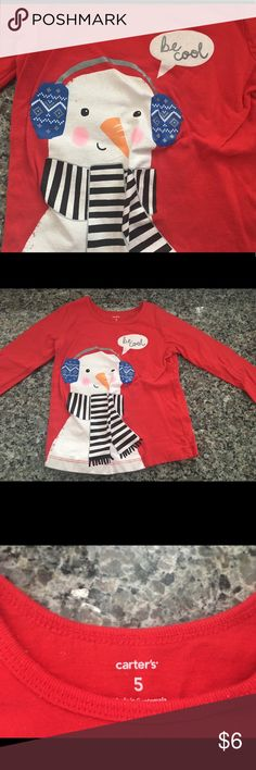 Girls long sleeved red shirt with snowman Girls long sleeved red shirt with snowman on the front. Size 5 from Carters. 100% cotton carters Shirts & Tops Tees - Long Sleeve