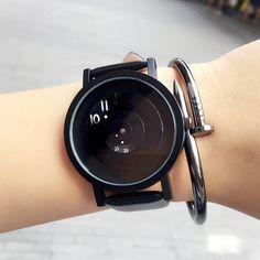 BGG Turntable Creative Watches concept Simple Unisex Wristwatches Women Quartz Watch Men Student Casual Clock black relogio #Affiliate
