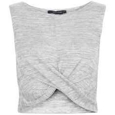 New Look Pale Grey Fine Knit Twist Front Crop Top ($6.56) ❤ liked on Polyvore featuring tops, crop tops, crop, shirts, tank tops, summer shirts, sleeveless shirts, no sleeve shirt, sleeve less shirts and summer crop tops