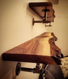Live edge black walnut shelves