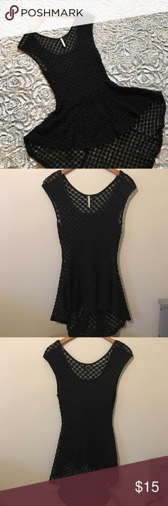 Black sheer lace M peplum top❤️ Black sheer lace M peplum top❤️ in good condition! This top is so cute! Longer in the back than in the front. Can fit a small or medium. Tops